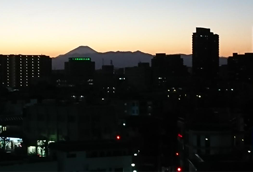 Mt. Fuji is sometimes visible on clear days.